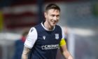 Dundee's Jordan McGhee at full time after beating Hearts.