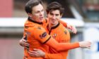 Lawrence Shankland and Ian Harkes celebrate going 2-0 up.