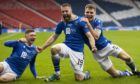 GLASGOW, SCOTLAND - FEBRUARY 28: St Johnstone's Shaun Rooney celebrates after scoring to make it 1-0 during the Betfred Cup final between Livingston and St Johnstone at Hampden Stadium on February 28, 2021, in Glasgow, Scotland. (Photo by Craig Williamson / SNS Group)