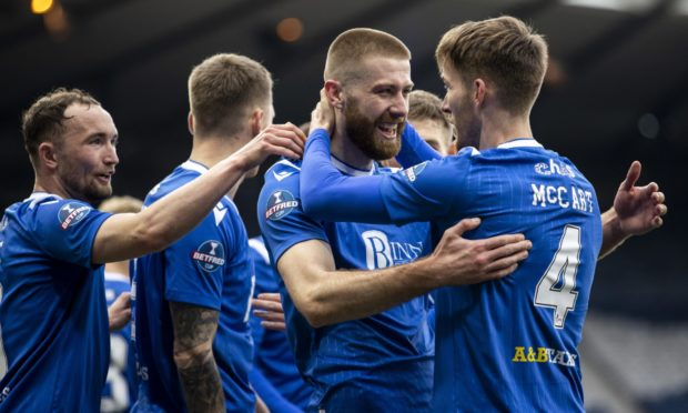 Shaun Rooney with his St Johnstone team-mates.