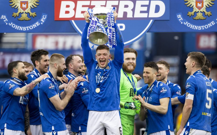 St Johnstone ace Liam Gordon lifts Betfred Cup.