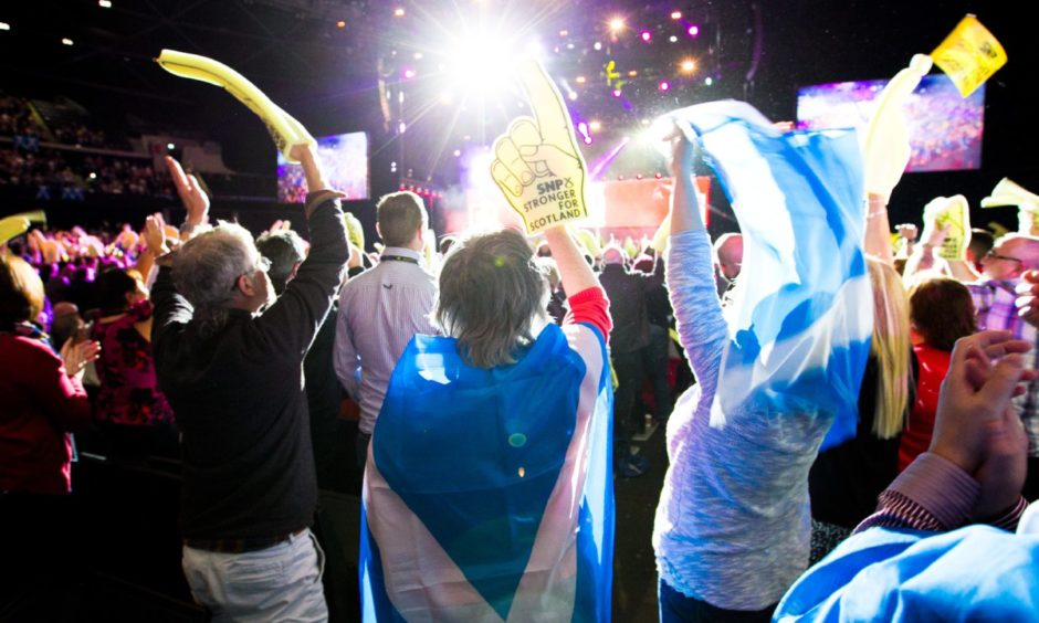 An SNP party conference at the SSE Hydro, Glasgow, in 2014.