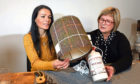 Gayle learned how to craft a lamp using an empty gin bottle and Harris Tweed with Angela Moores of LightnShadeTayside - before lockdown.