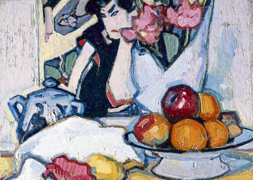 Flowers and Fruit with a Japanese Background (detail). Peploe.