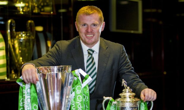 Neil Lennon pictured in 2013 after winning double with Celtic.