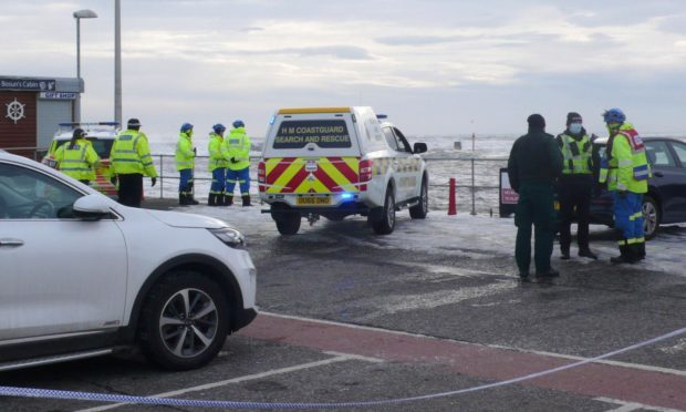 Emergency services meet in the Arbroath harbour area.