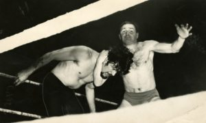 George Kidd wrestles Ivor Penzekoff at Dundee's Caird Hall in January 1965.