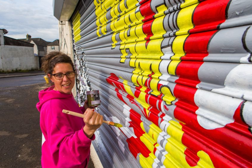 Celie Byrne at work in Kelty in 2017