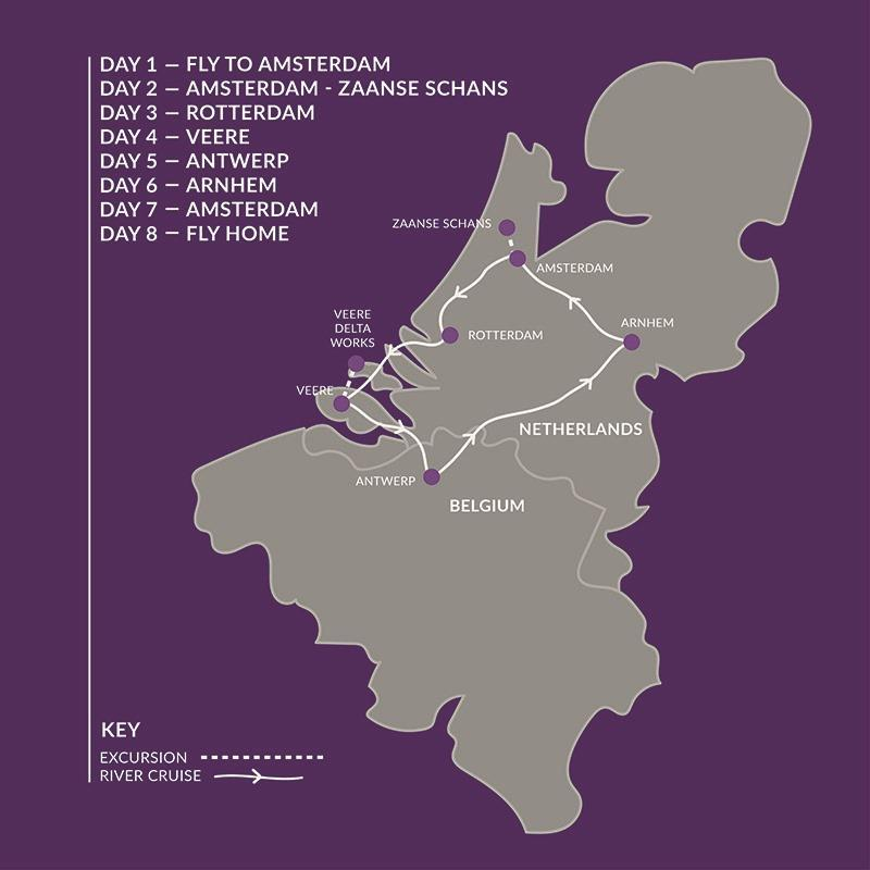 The Blooms of Holland & Belgium 2022 River Cruise Itinerary
