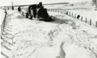 A steam train stuck in a heavy snow fall on the railway line near Auchterhouse in Angus in early 1947.