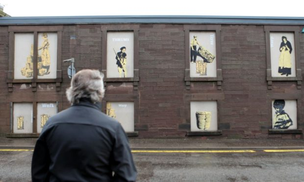 The murals on St James Works, Forfar.