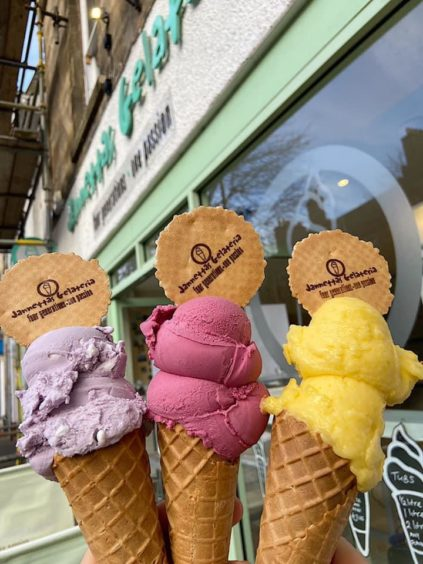 The Tayberry gelato, centre, is one of the most recent flavours to be launched at Jannettas, along with Parma Violet Gelato with rippled Italian meringue and a mango sorbet.