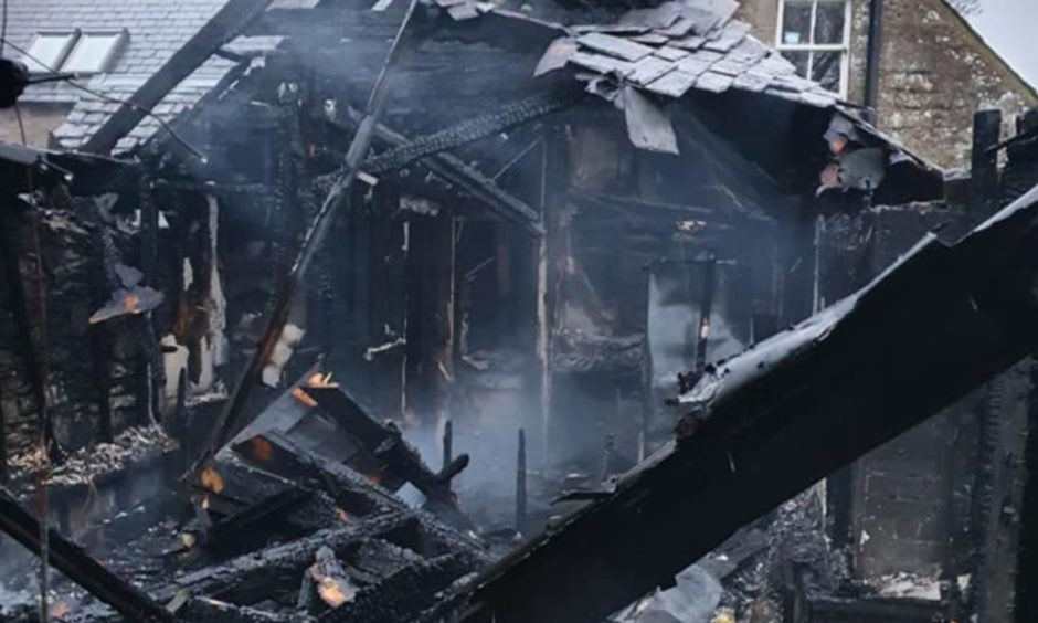 Joanna Rae's house after the fire in Charleston, Angus..