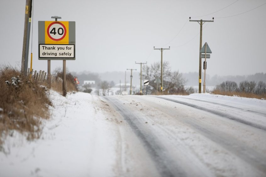 Tricky driving conditions near Colliston.