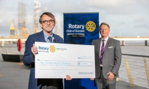 Professor Bob Steele (left) and Dundee Rotary centenary committee chairman Robert Dunn.