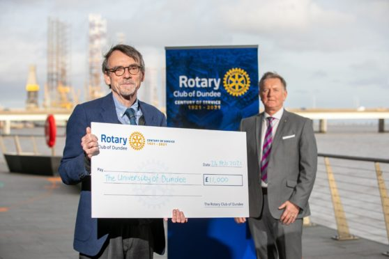 Professor Bob Steele (left) and Dundee Rotary centenary committee chairman Robert Dunn.