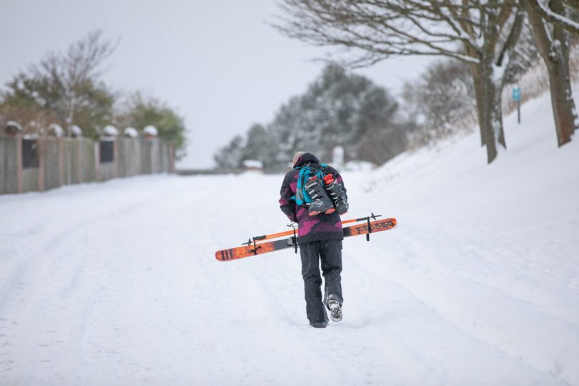 Ross Grant making use of his skis near to home. The Law, Dundee.