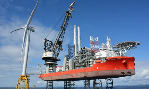 Offshore turbine jacket foundation installation at Beatrice offshore wind farm, developed by SSE Renewables.