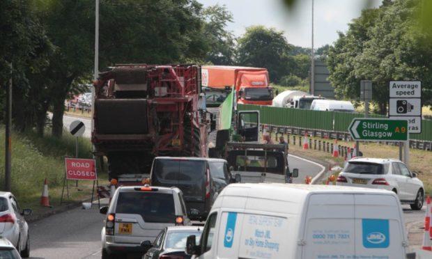 Traffic at Broxden, Perth, following the crash in June 2018.