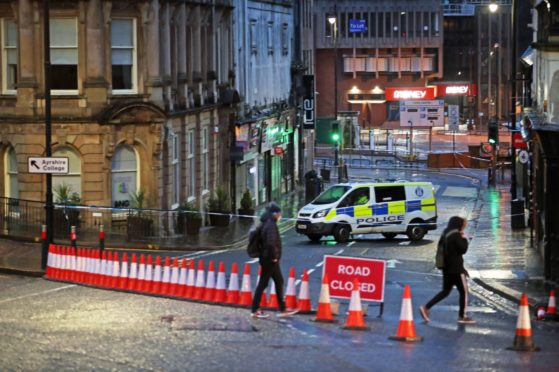 A police cordon at West George Street in Kilmarnock.