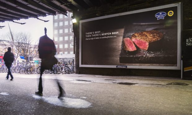 Billboard as part of a Quality Meat Scotland (QMS) Scotch Beef promotional campaign.