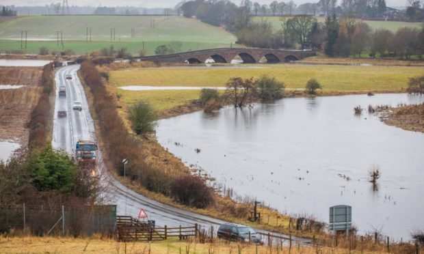 Flooding around the A923 near Coupar Angus.