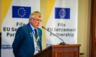 Fifre Council co-leader David Alexander addressing a meeting to highlight the EU settlement scheme back in September 2019.