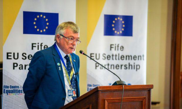 Fifre Council co-leader David Alexander addressing a meeting to highlight the EU settlement scheme back in September 2019.