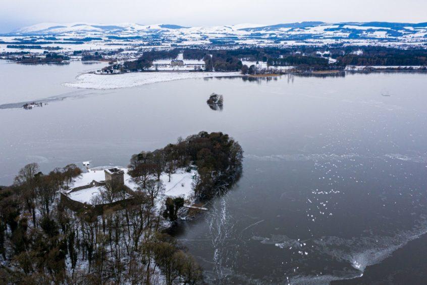 A frozen Loch Leven in February 2021.