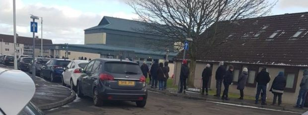 The queue outside Templehall Community Centre in Kirkcaldy.