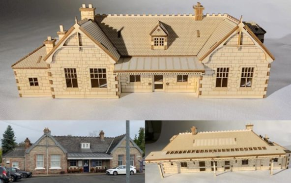 The famous Aberdour train station building has been recreated as a 1/76 scale model.