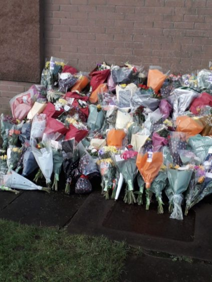 Tributes to Adam Jones in Arbroath.