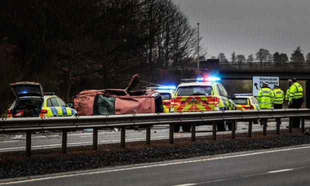 The scene of the crash on the A90.