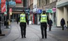 Police patrolling Dundee city centre during the lockdown.