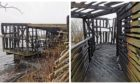 Burnt out bird hide on Loch Leven Nature Reserve