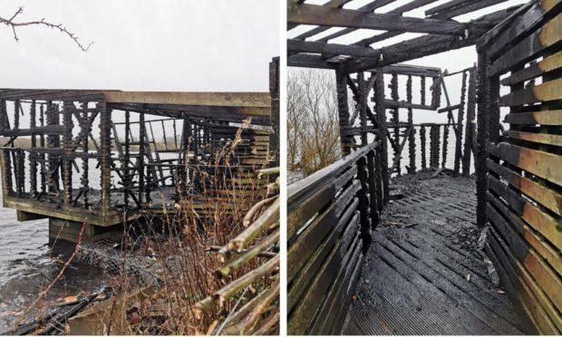 Mill Hide, Loch Leven, has been destroyed.