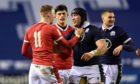 Zander Fagerson and Liam Williams have a confrontation at Murrayfield.