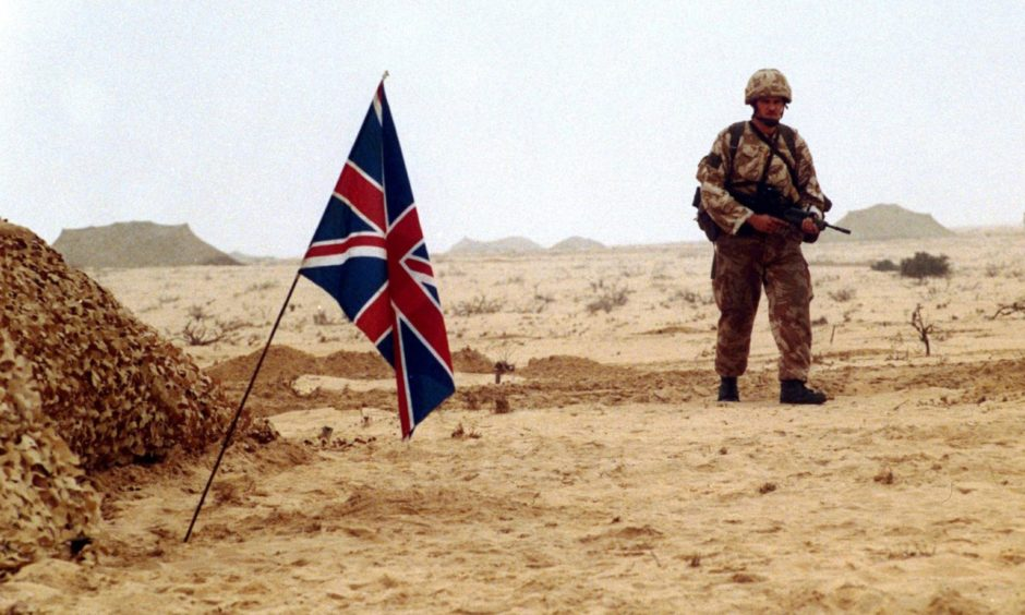 British troops pictured preparing for a ground attack during the Gulf War in 1991.