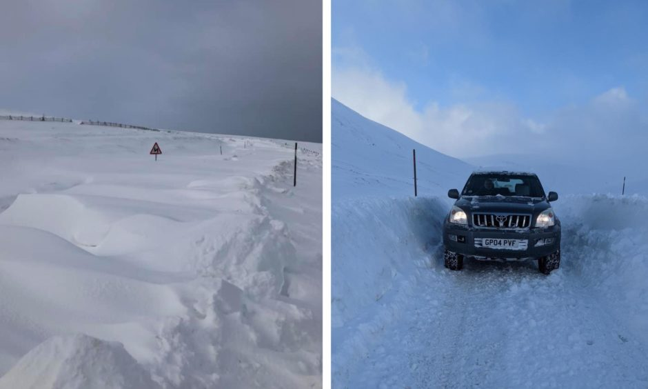 Snow at Glenshee and the Cairn O' Mount on Monday, February 8.