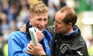 An emotional David Wotherspoon with Alec Cleland after winning the Scottish Cup.