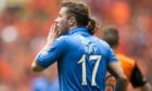 Stevie May with the shirt that no St Johnstone fan will ever forget.