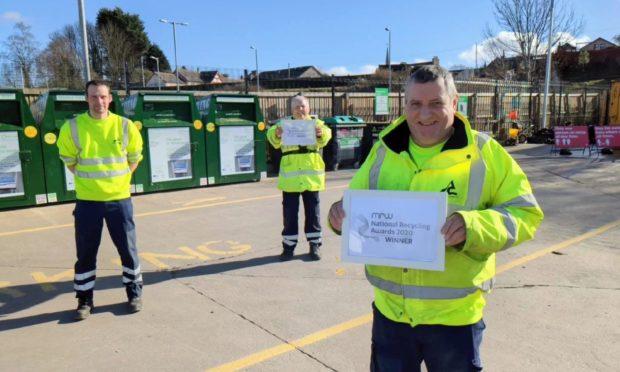 John Mackay, Robert Butter and Steven Moody at Forfar Recycling Centre.