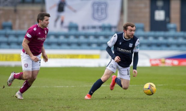 Paul McMullan takes on Arbroath for Dundee.