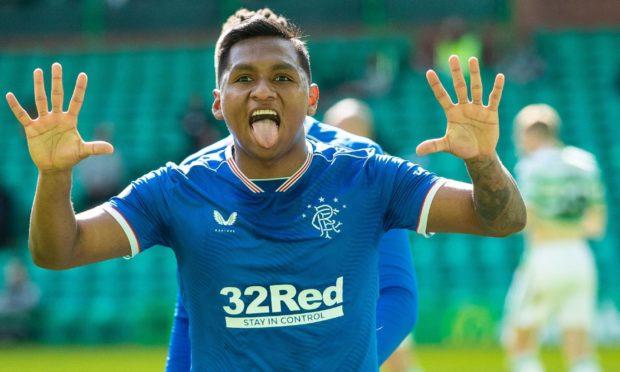 Alfredo Morelos of Rangers celebrates his goal during the Scottish Premiership match at Celtic Park, Glasgow.
