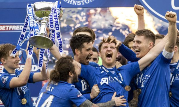 St Johnstone celebrate their Betfred Cup triumph.