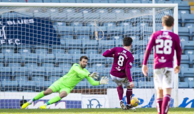 Adam Legzdins saves Arbroath's first-half penalty.