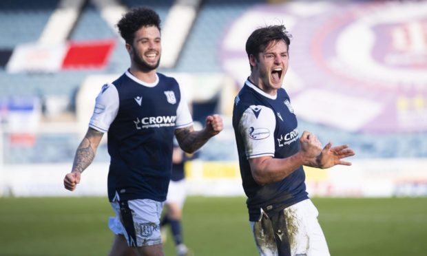 Danny Mullen (right) celebrates scoring against Arbroath.