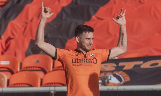 Dundee United winger Adrian Sporle celebrates his winner against Aberdeen last weekend.
