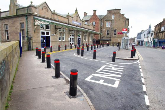 The bollards now line the entrance to the railway station.