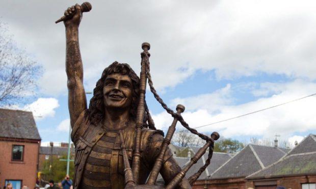 The Bon Scott statue in Kirriemuir.